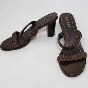 Ralph Lauren Brown Sandals Mule Heels 9.5